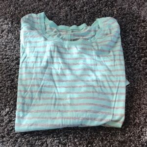 Ana mint and gray striped top